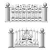 Gate a fence a lattice the house a vector