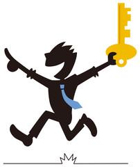 鍵を持って来たビジネスマン