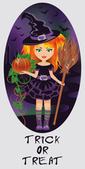 Trick or Treat Halloween card. Little witch. vector