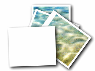 blank photo frame and sea waves isolated on white background