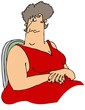 Large woman in a red dress