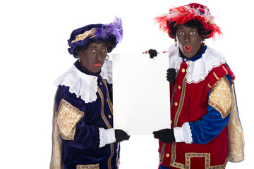 Zwarte Piet with a whiteboard, to put your own text on