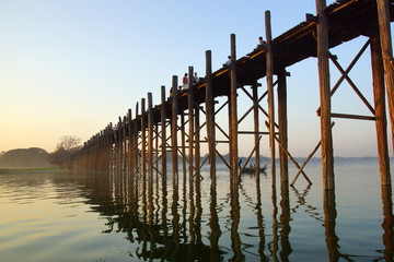 U bein bridge at sunset in Amarapura near Mandalay, Myanmar