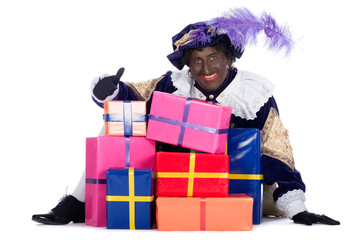 Zwarte Piet with a lot of presents