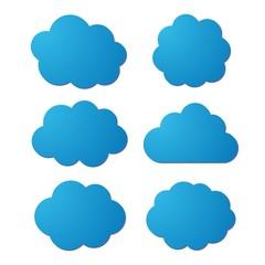 Set of blue clouds