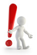 3d small people - red exclamation mark