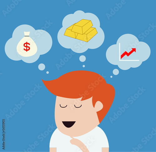 man thinking or dream concept vector