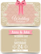 Wedding vector labels with cute pink bows
