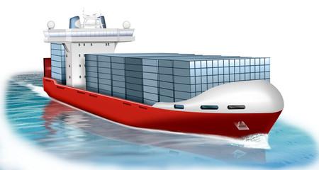 Containerschiff, freigestellt
