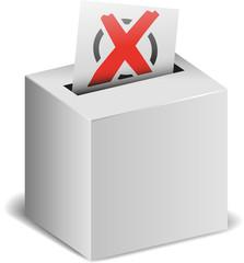 Wahlurne mit Wahlzettel und Kreuz vektor