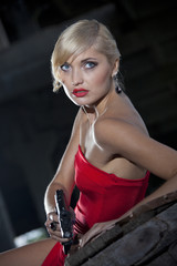 Sexy assassin with gun