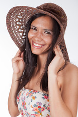 pretty woman with wide-brimmed hat III
