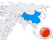 China on map of Asia
