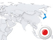 Japan on map of Asia