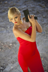 assassin in red with gun
