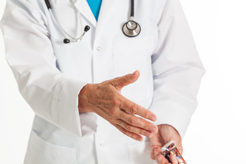 Doctor giving hand for greeting