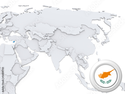 Cyprus on map of Asia
