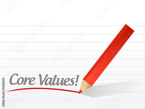 core values written on a white paper. illustration