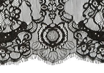 Black lace edge on white background