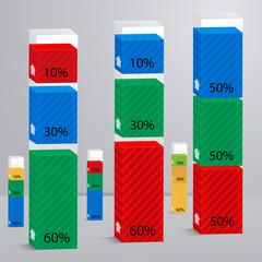 Set 3D of columns with percent