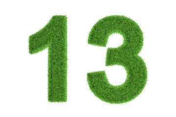 Number 13 with a green grass texture