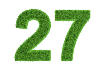 Number 27 with a green grass texture
