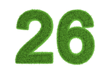 Number 26 with a green grass texture