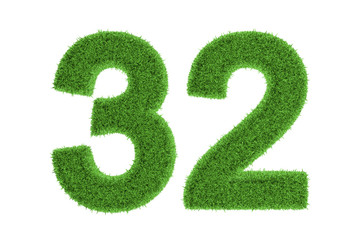 Number 32 with a green grass texture