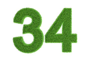 Number 34 with a green grass texture