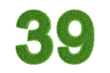 Number 39 with a green grass texture