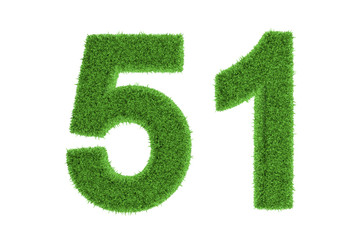 Ecofriendly symbol of number 51, on white