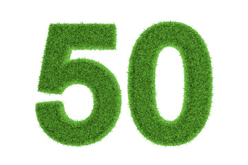 50, filled with grass pattern, isolated on white