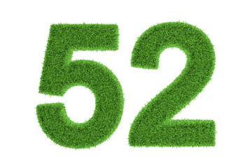 Ecofriendly symbol of number 52, on white