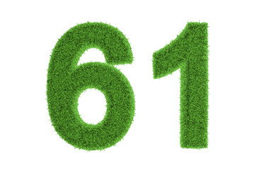 Green eco-friendly symbol of number 61, on white