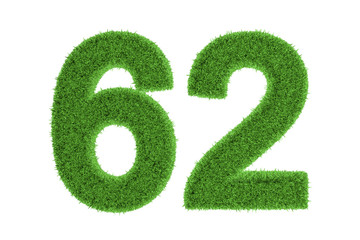 Green eco-friendly symbol of number 62, on white
