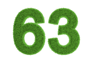 Green eco-friendly symbol of number 63, on white