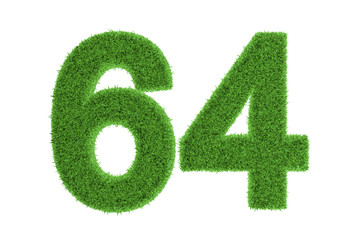 Green eco-friendly symbol of number 64, on white