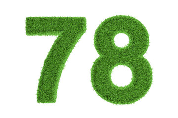 Number 78 with a green grass texture