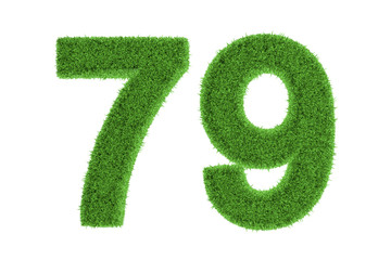 Number 79 with a green grass texture