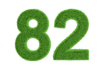 Number 82 with a green grass texture