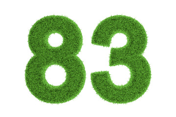 Number 83 with a green grass texture