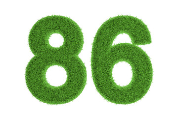 Number 86 with a green grass texture
