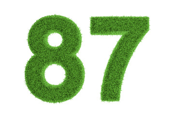 Number 87 with a green grass texture