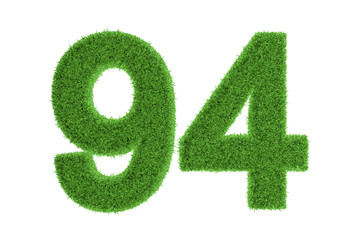 Number 94 with a green grass texture
