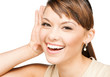 happy woman listening gossip