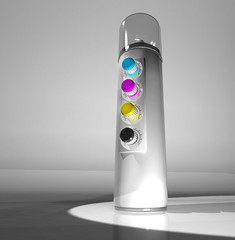 A spray can of paint and a remote control color CMYK. 3d render.