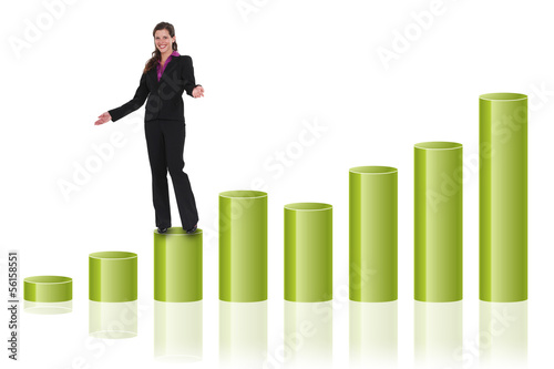 Businesswoman on a graph
