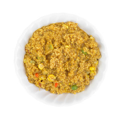 Cooked couscous with vegetables in bowl
