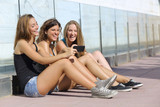 Group of teenager girls watching the smart phone