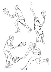 silhouettes of tennis players